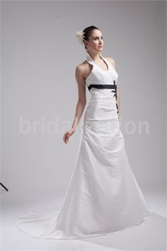 Summer A-Line Halter Court Train Taffeta Wedding Dress  for your big day #weddingdress #wedding #weddinggown #longdress #gownstyle #fashion