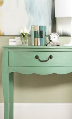 Green sideboard console unit to add a stylish splash of color