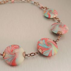 Candy Swirl Polymer Clay Lentil Bead Necklace by Copperheart, $37.00