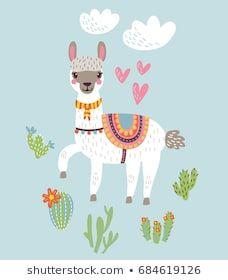 Illustration about Cute Lama vector background file. Illustration of domestic, america, graphic - 98861277 Alpacas, Images Lama, No Drama Lama, Cartoon Llama, Llama Pictures, Llama Arts, Diy And Crafts, Arts And Crafts, Expecting Baby
