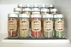 Dollar Store Spice Jar Organization- Get your spices organized quickly and easily with these great spice cupboard organization ideas! Spice drawer organizing tips also included! Spice Storage, Spice Organization, Diy Kitchen Storage, Diy Storage, Storage Ideas, Organizing Ideas, Closet Organization, Spice Drawer, Decorating Kitchen