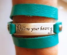Follow Your Heart Turquoise Wrap Leather Bracelet by KesTdesigns