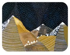 night rain // contemporary watercolor landscape painting // original mountain art by natasha newton. , via Etsy.