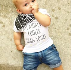 Graphic Print Tee My Mom is Cooler Than Yours by LittleBeansCo