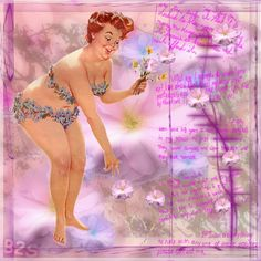HILDA,  in her blue flower bikini --- in a sea of lavender, pinks an purple -- reaches for her favorite flower... a daisy