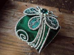 Rich Emerald Green cuff bracelet Handmade One of a by lottaart, $50.00