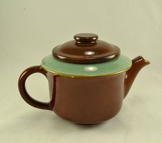 New to ChicMouseVintage on Etsy: Red Wing Tea Pot - Provincial OOMPH  - Aqua Green Turquoise on Brown Glaze - Minnesota Pottery Teapot (60.00 USD)