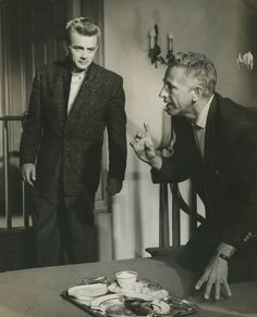 Jimmy and Nicholas Ray on the set of Rebel Without a Cause