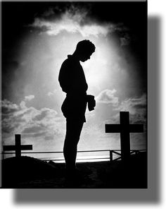Soldier At Cemetery Memorial Wall Picture on Acrylic , Wall Art Décor, Ready to Hang!