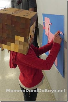 PEOPLE ARE SO CLEVER. I love this. Minecraft Party Game - pin the tail on the pig