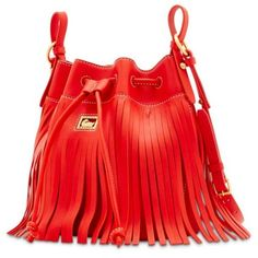 Dooney Amp Bourke Red Lulu Fringe Drawstring Bag ($268) ❤ liked on Polyvore featuring bags, handbags, red, boho handbags, red purse, bohemian handbags, drawstring bag and boho bags