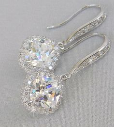 Cushion Cut Bridal Earrings Square Blue crystal por CrystalAvenues