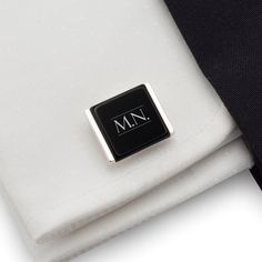 Initial Cufflinks, Custom Cufflinks Sterling silver Onyx Cufflinks with custom initials engraved on onyx stone. FREE engraving great for Gift Idea, Birthday Gift, Groom, Wedding or any special occasion.