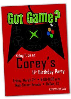Printable Video Game Birthday Party Invitation by khudd on Etsy, $10.00