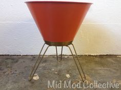 Super hard to find! Bernard Edwards Co. Tripod planter. Available now at Mid Mod Collective. Email midmodcollective@gmail.com for more info.