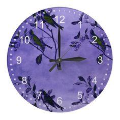 Purple Vintage Birds Wall Clock