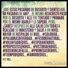 Es necesario el desierto después de allí salimos a un nivel mayor de respaldo de Dios... #Solodigo... #palabrasdeverdad... #Fesobrenatural... #VoluntaddeDios.... #EsperarenDios... #PropositosenDios... #VictoriaenDios... #Diosnuncafalla.... #PromesasdeDios... #TiempodeDios... #amordeDios...