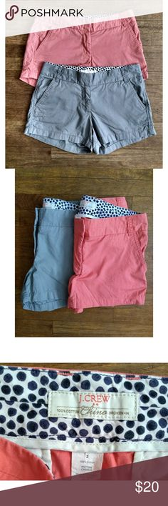 J Crew Shorts Bundle 2 J Crew Chino Broken-In Shorts Grey and a Coral Color Size 2 Pockets 3 inch inseam  Picture of model is not the color of shorts, just for reference. Last two pictures show some light spots on the shorts. Not really too noticeable but I wanted you to be aware 😀 Also my camera made that last picture pink, they're not that color 🤷 J. Crew Shorts