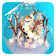 Olaf Christmas ornament - Olaf & trees is made out of polymer clay