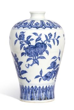 A FINELY PAINTED AND RARE BLUE AND WHITE 'FRUIT' MEIPING<br>MING DYNASTY, YONGLE PERIOD | lot | Sotheby's