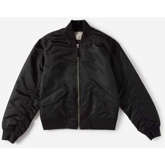 Everlane Women's Bomber Jacket ($80) ❤ liked on Polyvore featuring outerwear, jackets, shiny jacket, nylon flight jacket, everlane, bomber style jacket and insulated jackets
