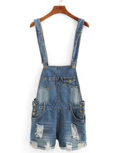 Shop Distressed Rolled Hem Overall Denim Shorts online. SheIn offers Distressed…