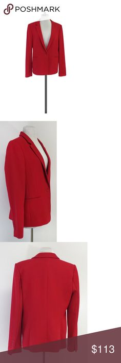 """BCBG- Red Textured Jacket Sz L Size Large Red Textured Jacket Body 68% Polyester 28% Rayon 4% Spandex Contrast 65% Rayon 30% Nylon 5% Spandex Lining 100% Polyester Buttons on front Padded shoulders Welted waist Comes w/original tags attached Shoulder to Hem 26"""" BCBG offers a casual and contemporary style with youthful sophistication.With this brand you will easily transition from work to play. BCBG is a large brand that has everything from wedding to runway. With tons of styles to choose…"""