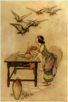 Warwick Goble - Illustration for The Seven Doves by Giambattista Basile