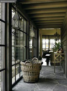 hallway, stone floor, glass doors,