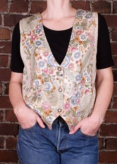 Vintage 90s Floral Boho Waistcoat Cream Green Satin Flowers Large by CaronsCurios on Etsy