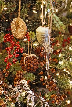 Decorating Christmas tree with naturals