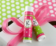 Monogram Lip Balm Favors found here $1.60  Party Favor