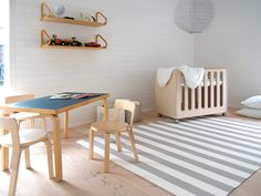 Woodnotes Big Stripe paper yarn carpet. Baby room. Kids room. Interior design. Modern design. Artek. Talo Koskela, Asuntomessut 2016 Seinäjoki.