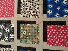 Shadow Box Soccer Quilt by Jaded Spade Creations - Amazing Soccer Ball Pattern Quilting Pattern