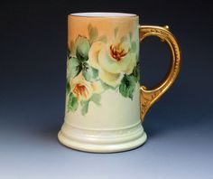 Antique Hand Painted W.G.&Co Limoges Mug with Yellow Roses