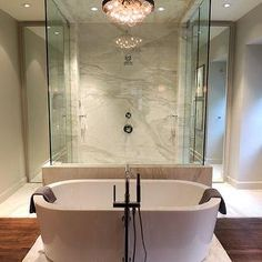 Chad James Group - bathrooms - walk through shower, double entry shower, two door shower, seamless glass shower, frameless glass shower surr...