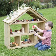 Outdoor Wooden Dolls House A beautifully crafted, open-ended dolls house to allow children's imagina Diy Outdoor Toys, Outdoor Toys For Kids, Outdoor Play Spaces, Eyfs Outdoor Area Ideas, Outdoor Baby, Outdoor Games, Natural Playground, Outdoor Playground, Wooden Dollhouse