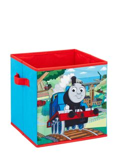 Thomas The Tank Engine Toy Storage Box Is Ready To Haul Those Toys Away A Neat And Tidy Room Canvas Pouches On Outside Are Perfect For