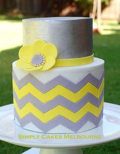 Chevron cake | Grey and Yellow Chevron Cake | Evi Andrianti | Flickr