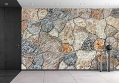 wall26 - Granite Debris Shivers Stones in Wall Background - Removable Wall Mural | Self-adhesive Large Wallpaper - 100x144 inches