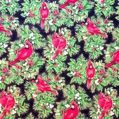 Holiday Dazzle Cardinals and Holly Gold Speckled Black Cotton Fabric