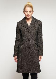 ELLEN TRACY Button Front Wool Coat