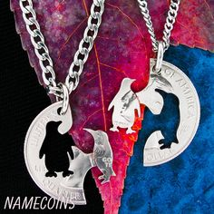 Penguin Couple Necklace Hand cut coin Jewelry by NameCoins on Etsy, $39.99