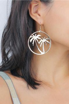 Palm Tree Hoop Dangle Earrings Earring Type: Drop Earrings Shape\pattern: Round Material: Metal Color: Gold Boho Earrings, Boho Jewelry, Jewelry Accessories, Fashion Accessories, Drop Earrings, Jewellery, Hobo Chic, Boho Life, Hippie Style