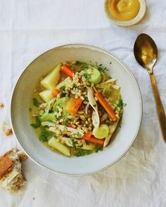 Nigella Lawson's chicken barley: a comforting cross between a soup and a risotto.