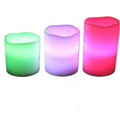 GenLed Flameless Weatherproof Outdoor and Indoor Color Changing Candles with Remote Control & Timer Party articles,Set of 3. ☞  Requires 3 AAA Batteries for each candle(not included). ☞  Three 4'', 5'' and 6'' weatherproof resin remote control color changing candles, weatherproof and designed to withstand light rain and not heavy rain or standing water. ☞  Includes two lighting modes & 12 different colours - Red, Green, Navy Blue, Orange, Lime, Light Blue, Beige, Sky Blue, Lilac, Blue, Light…