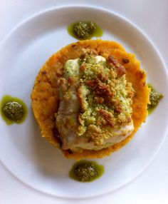 Chicken breast stuffed and rolled with pesto and mozzarella, topped with pesto, mozzarella and ground almonds, served with sweet potato and ginger mash, no recipe necessary.