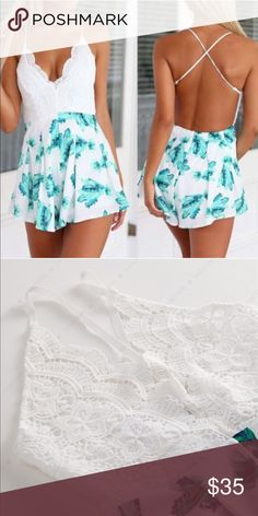 """‼️Flash Sale‼️Lace Floral Romper (White and Blue) Brand new! Looks cute with sandals or heels! I have 2 smalls available! Material: Lace and Polyester. Measurements: Bust- 33 in. Waist- 28 in. Hips- 40 in.  The model's measurements are: Bust 33 in, waist 26 in, hips 34 in, and height 5' 6"""". She is wearing a small. Shorts"""