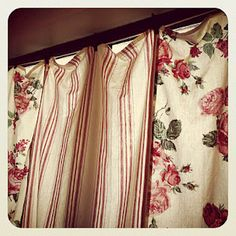 Shabby chic- tea towel kitchen curtain
