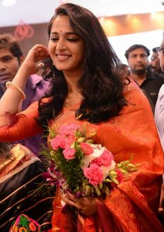 Anushka Shetty Latest 2016 Hot Photos In Orange Saree - Anushka Shetty